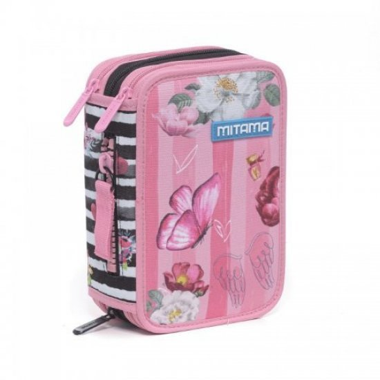 Пълен ученически несесер с 3 отделения Mitama Pink Flowers