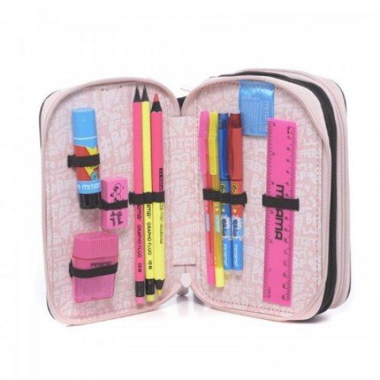 Пълен ученически несесер с 3 отделения Mitama Pink Lace