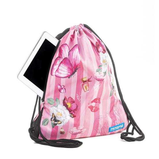 Спортна торба Pink Flowers Mitama, подарък ключодържател
