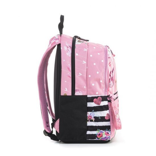 Ученическа ергономична раница Mitama Plus Pink Flowers, подарък Шапка