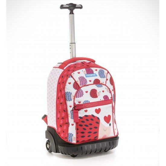 Ученическа раница на колела Mitama Trolley Run Love, подарък 2бр блестящи глитери