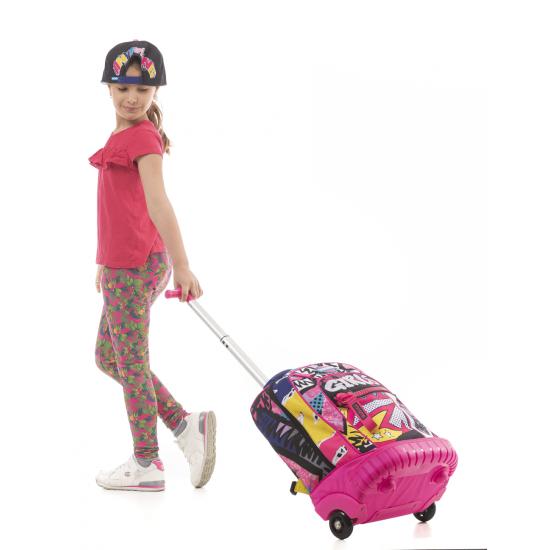 Ученическа раница на колела Mitama Trolley Run Roller Girl, подарък Шапка