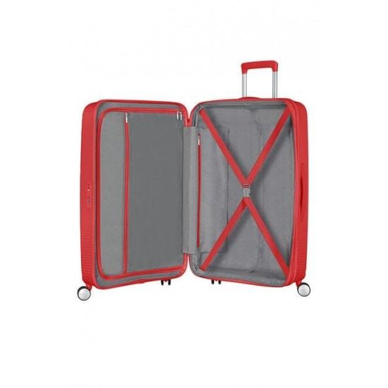 Куфар American Tourister Soundbox 77 см с разширение - кораловочервен
