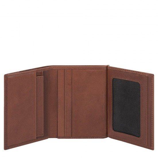 Мъжки портфейл от естествена кожа с RFID защита Piquadro KOBE - Кафяв