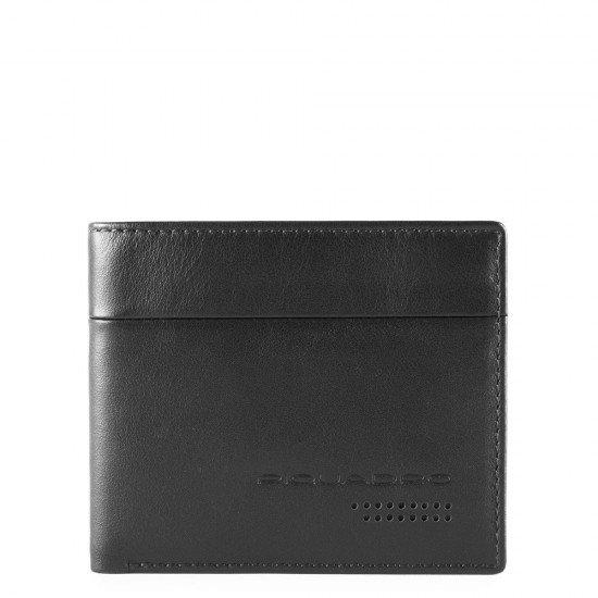 Тънък мъжки портфейл с отделение за монети Piquadro Urban - Черен