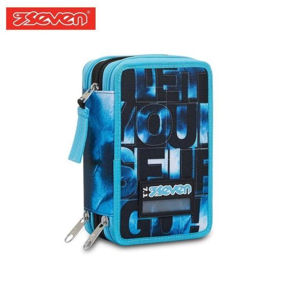 Seven® Ученически несесер с 3 ципа зареден Blue