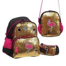 Ученическа раница Glossy Bird комплект с несесер, термо чанта и ключодържател