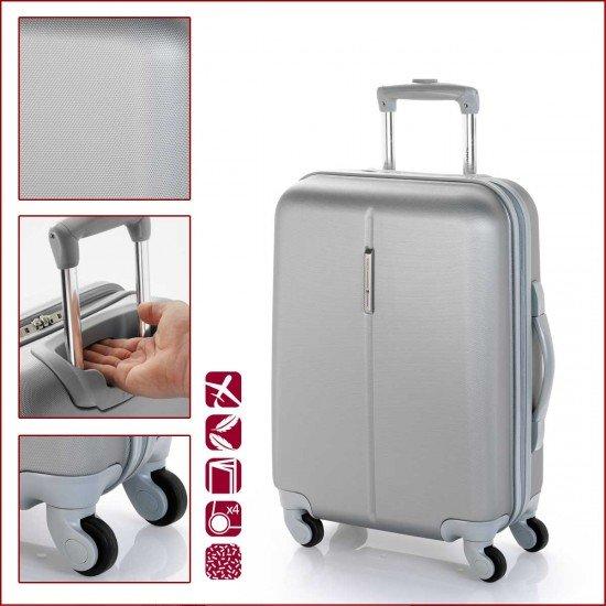 ABS куфар 55 см. сребрист - Paradise