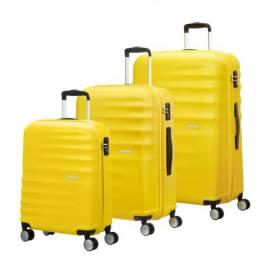 American Tourister сет от три куфара Wavebreaker 55 см, 67 см и 77 см. - слънчево жълто